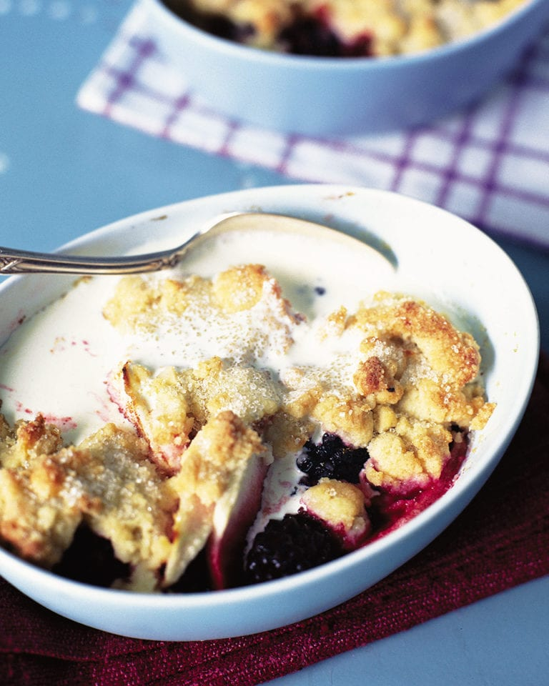 Pear and blackberry cobbler