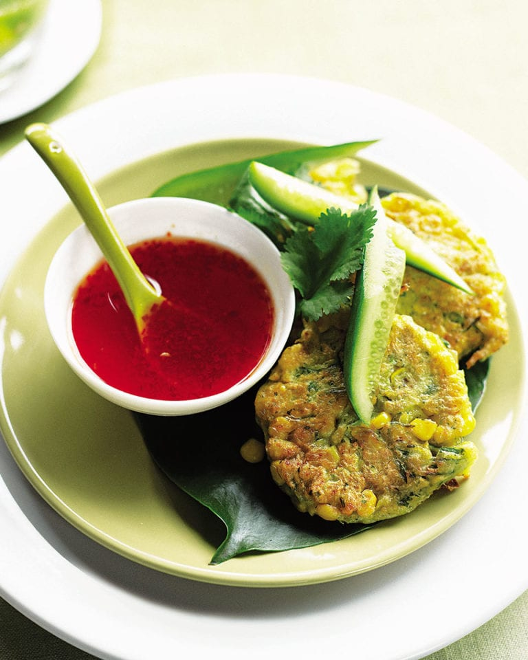 Sweetcorn fritters with sweet chilli sauce