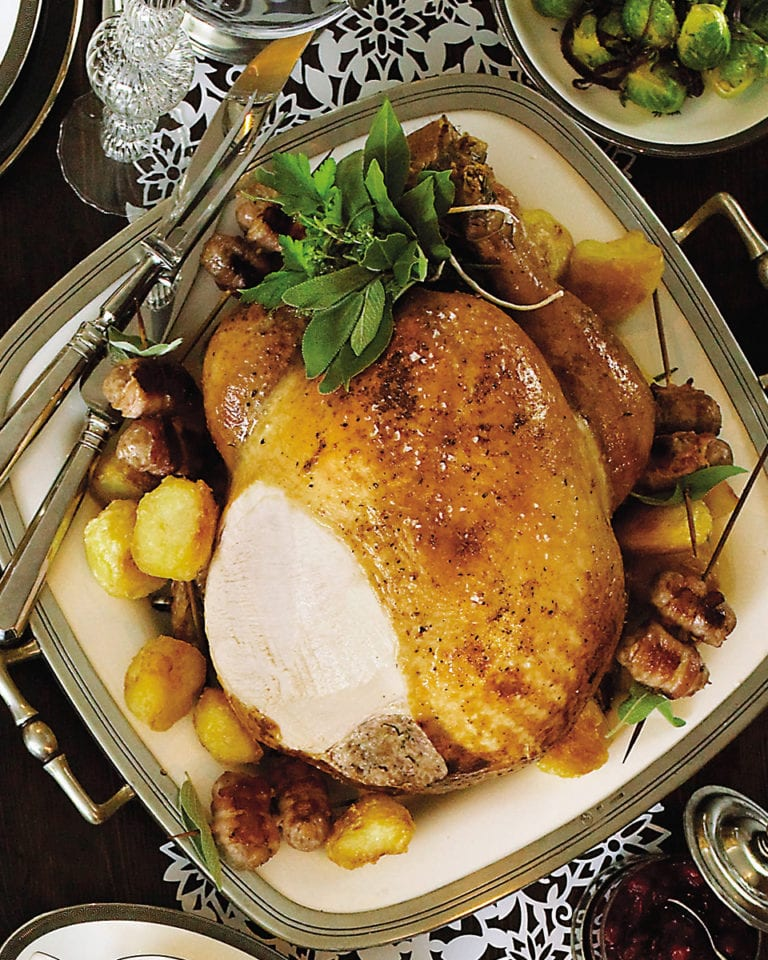 Classic roast turkey with pancetta