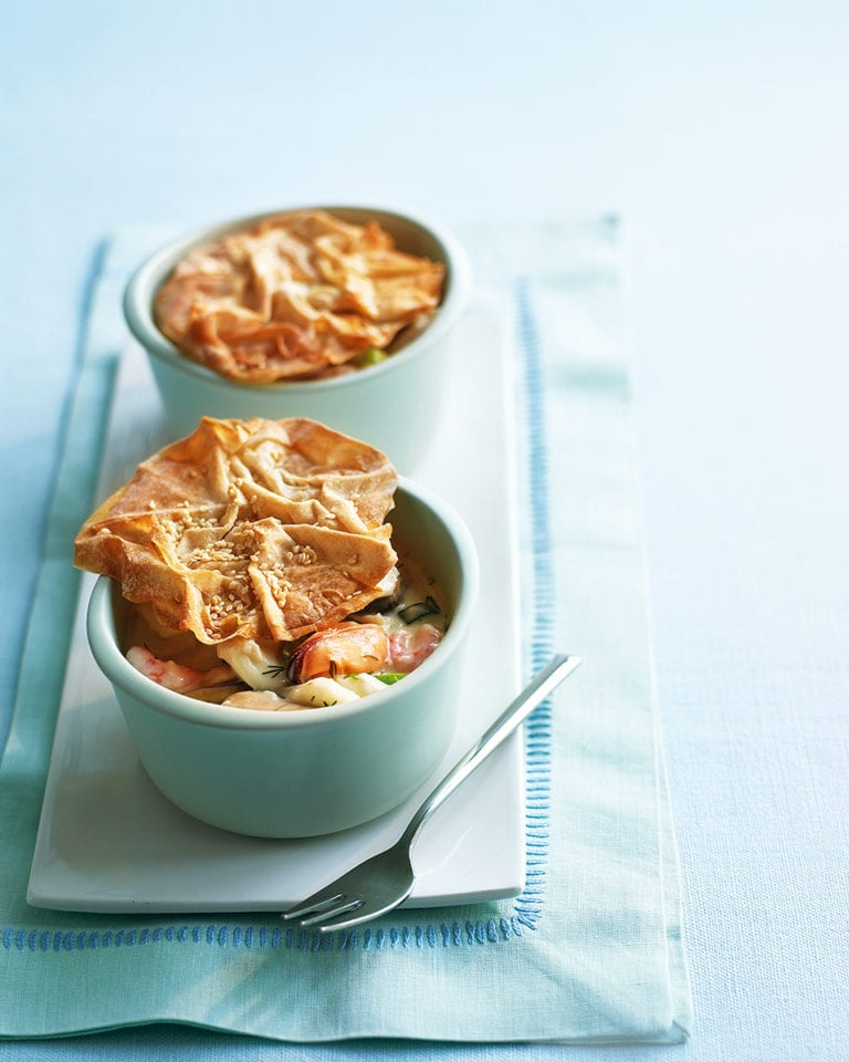 Haddock, prawn and mussel pot pies