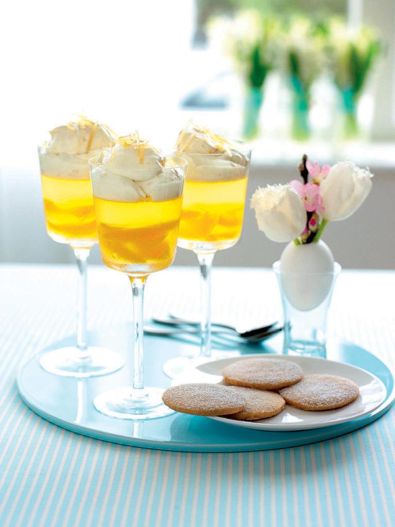 Orange-scented wine jellies with ginger syllabub cream