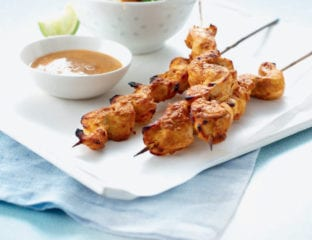 Chicken satay with Indonesian-style salad