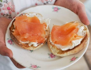 Smoked salmon and cream cheese muffin
