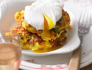 Vegetable fritters with poached eggs