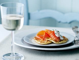 Warm potato pancakes with Scottish smoked salmon