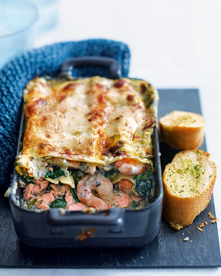 Quick prawn, spinach and salmon lasagne