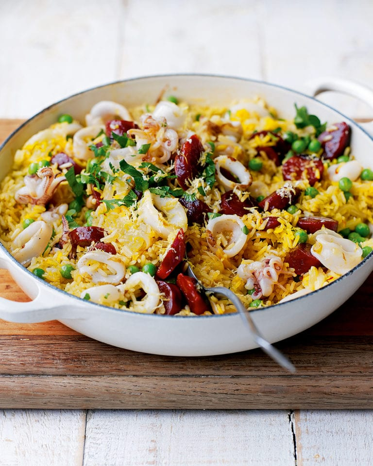 Cheat's squid and chorizo paella