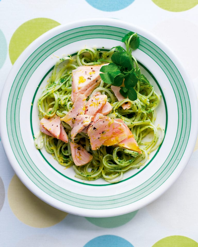 Salmon and watercress linguine