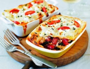 Roasted vegetable and goat's cheese lasagne