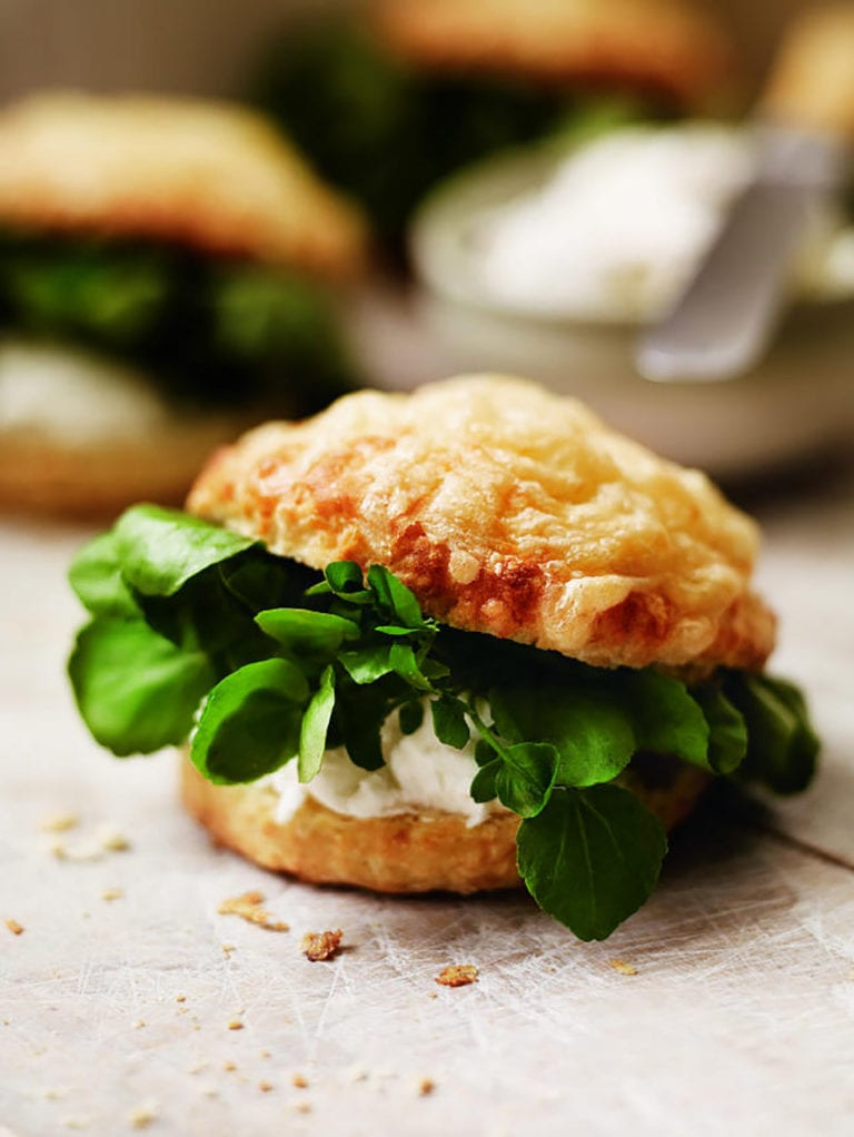 Cheese scones with watercress and goat's cheese