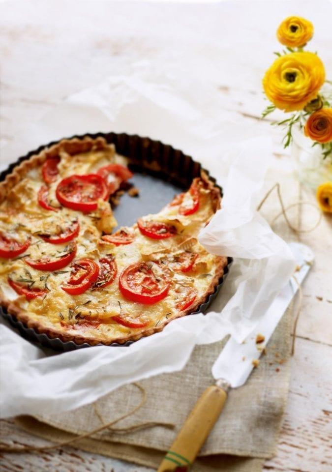 Camembert, goat's cheese and tomato tart