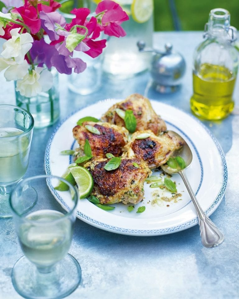 Barbecued chicken with yogurt, lime, coriander and almonds