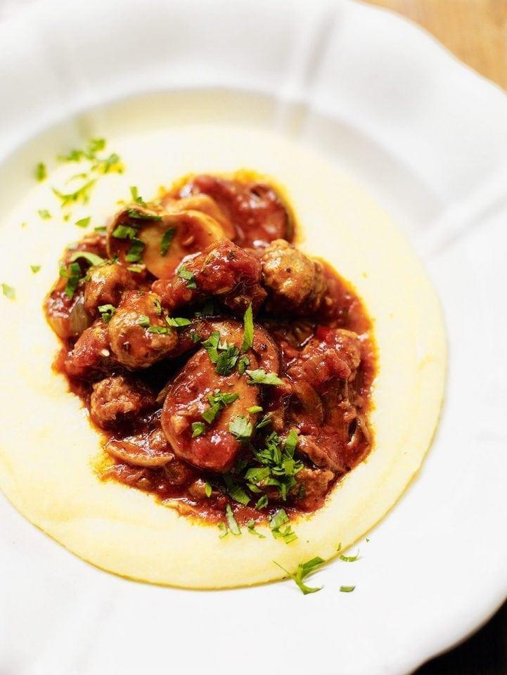 Sausage and mushroom ragù with polenta