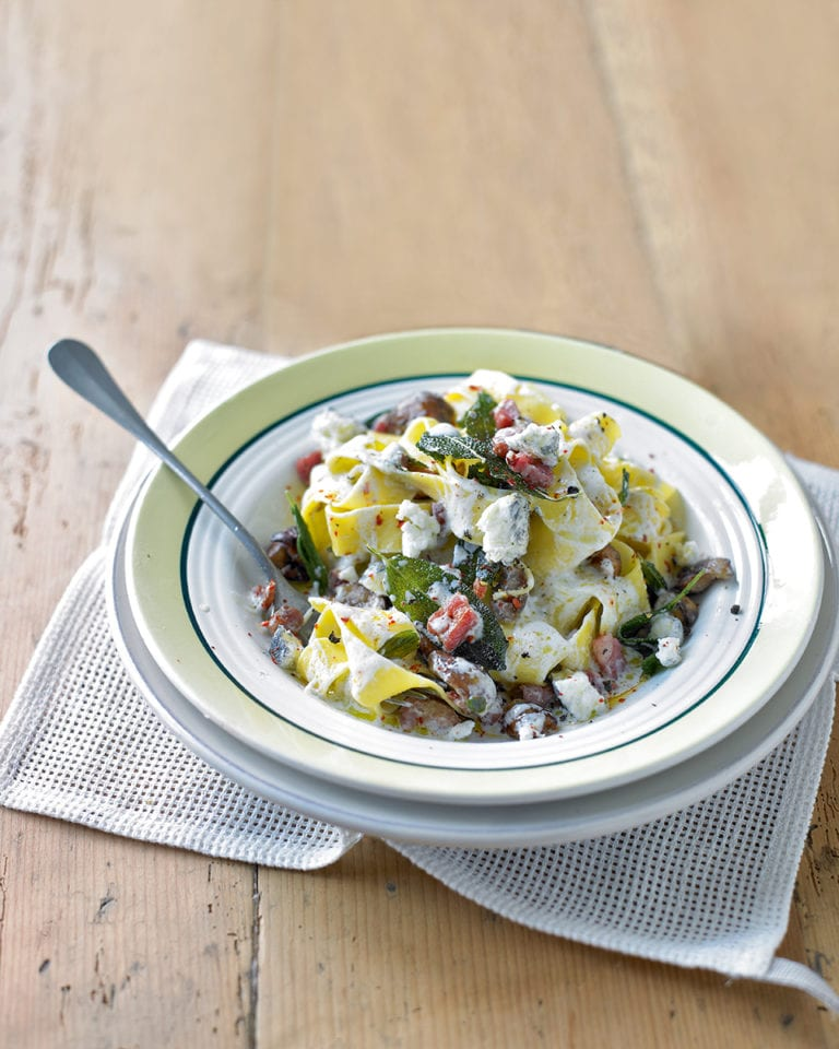 Pappardelle with goat's cheese, chestnuts, sage and pancetta