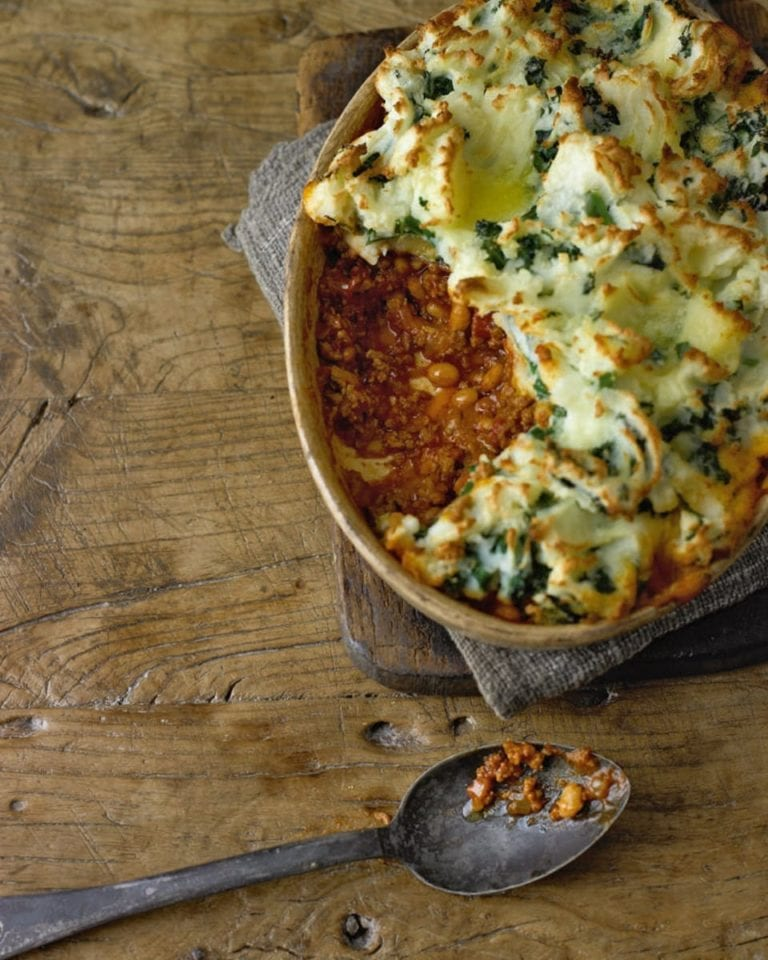 Shepherd's pie with garlicky kale mash
