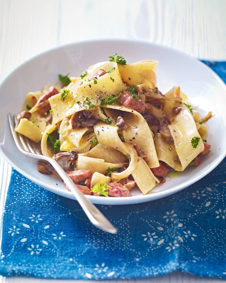 Gammon and chestnut pappardelle