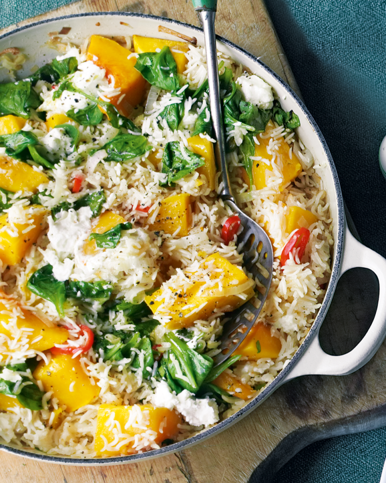 Baked basmati rice with squash and chilli
