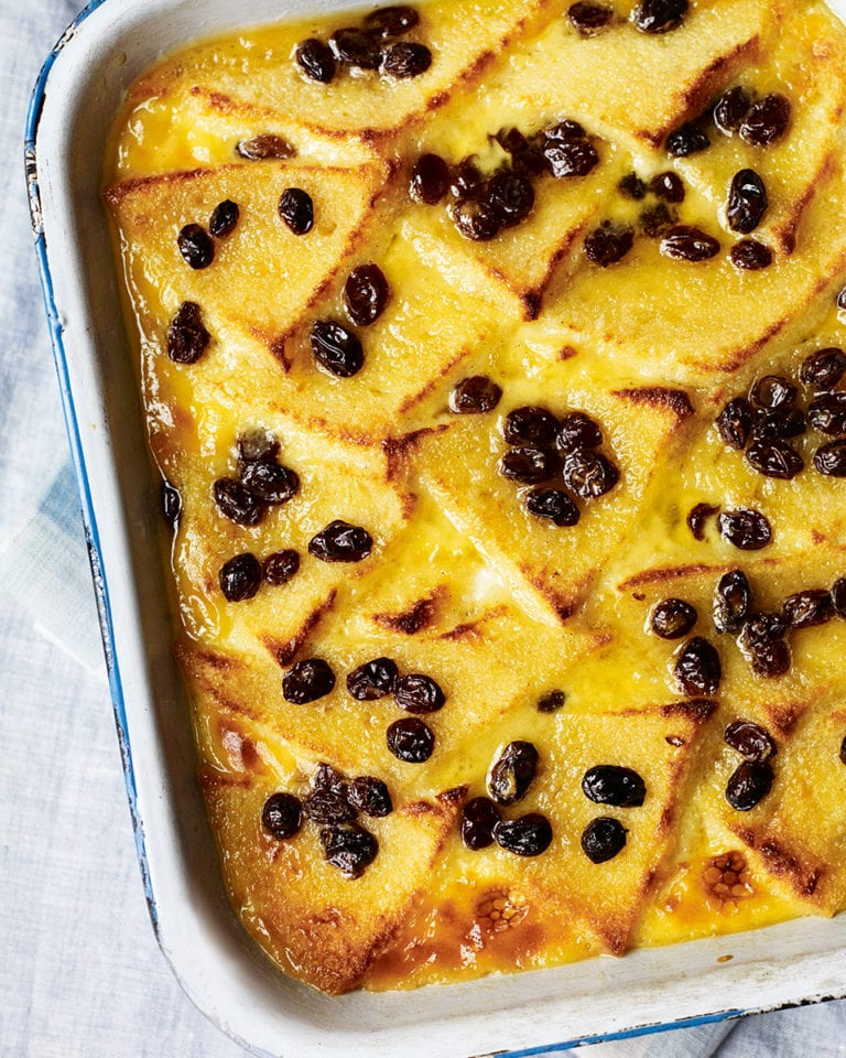 Honey bread and butter pudding