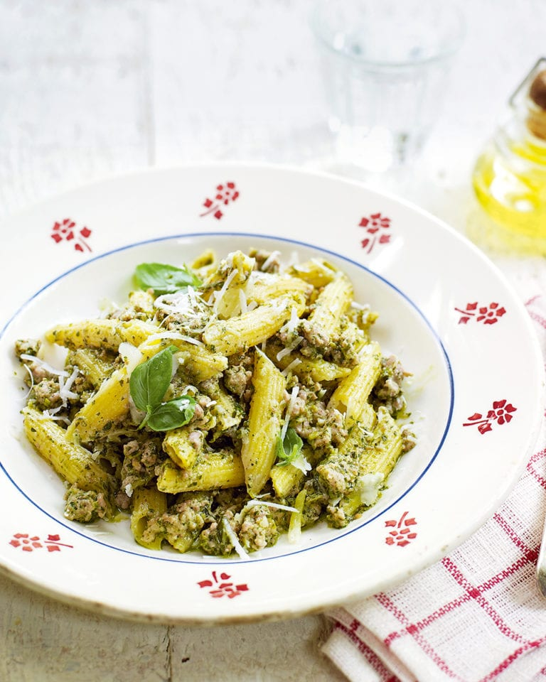 Creamy sausage pasta with watercress and chestnut pesto