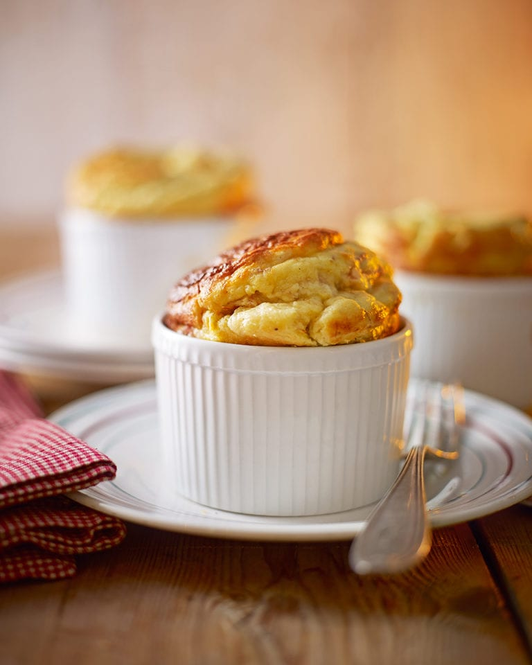 Ham, chestnut and bread sauce soufflé