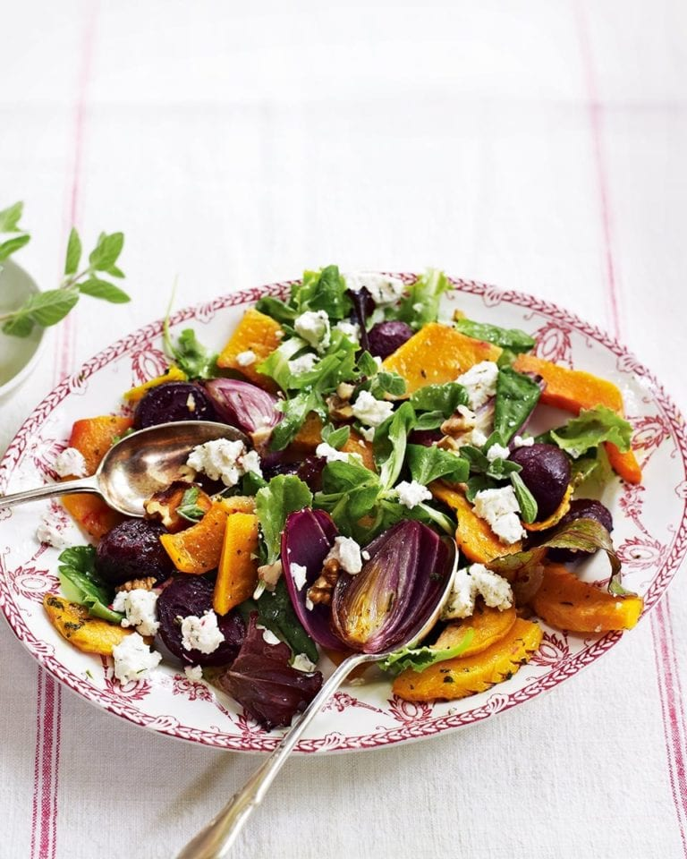 Warm squash, beetroot and goat's cheese salad