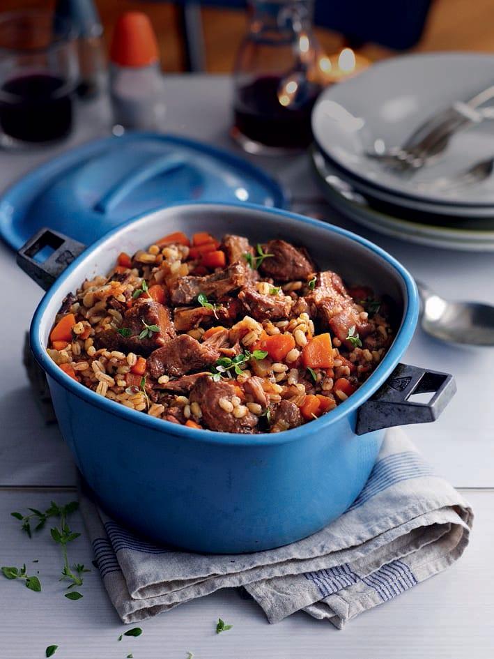 Pork shoulder and pearl barley stew