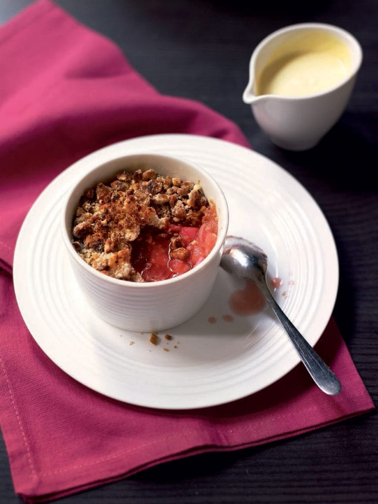 Rhubarb and caramelised hazelnut crumbles
