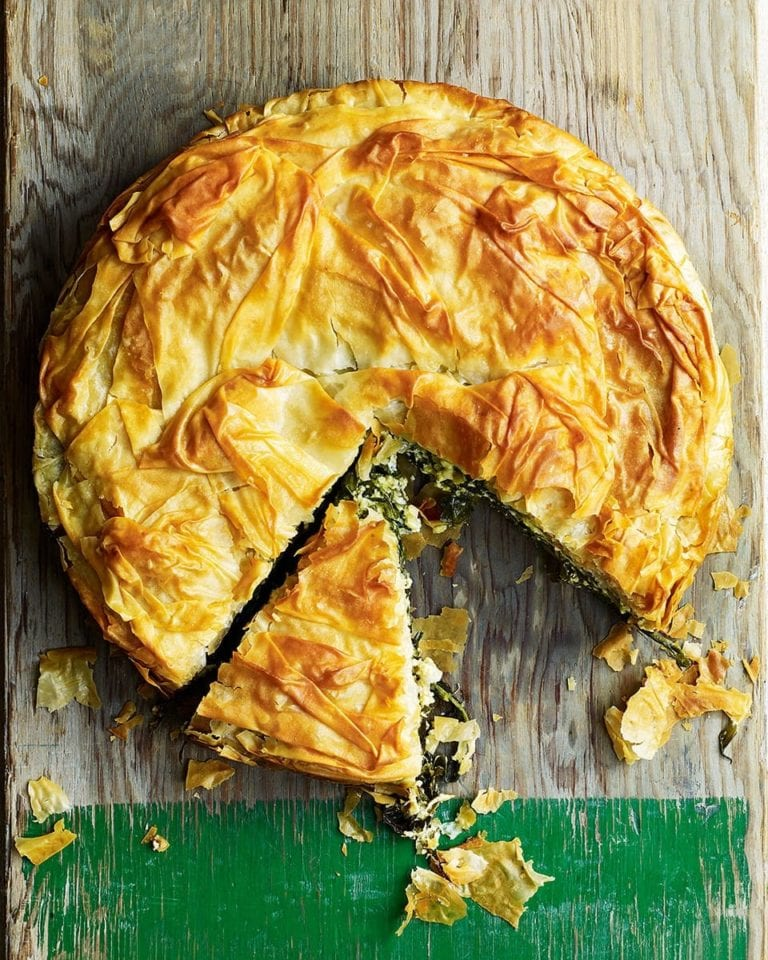 Wild garlic and goat's cheese pie