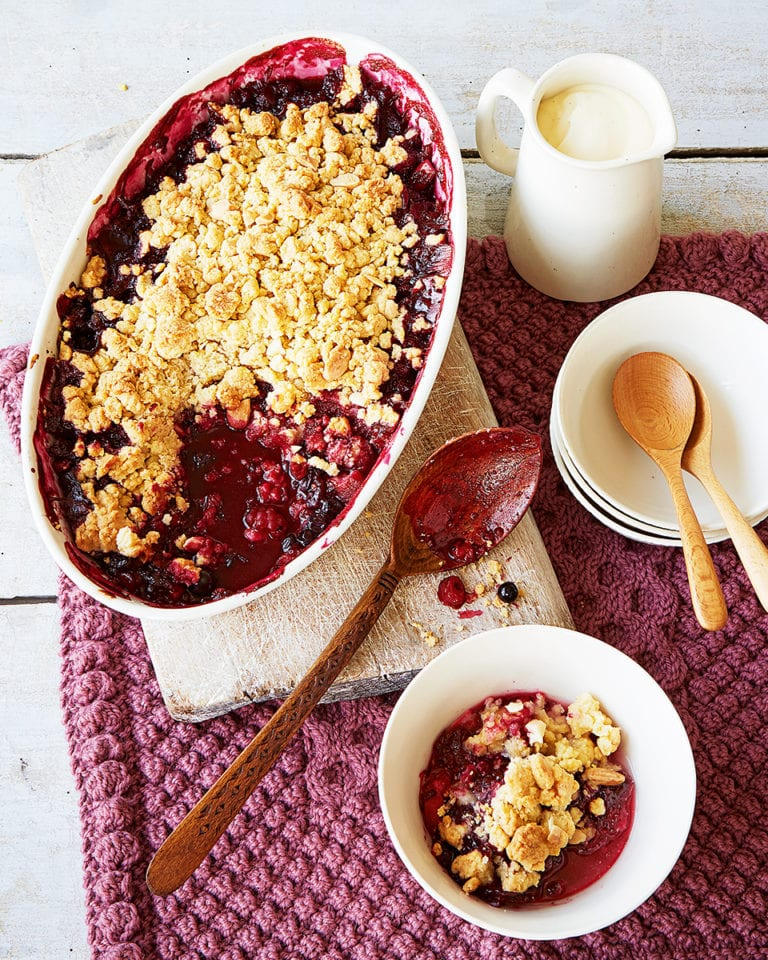 Berry and apple crumble with marzipan