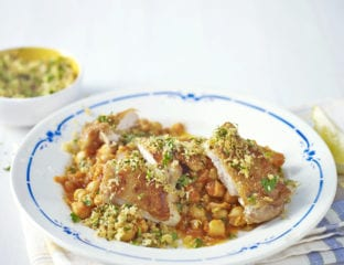 Chicken and chickpeas with zesty breadcrumbs