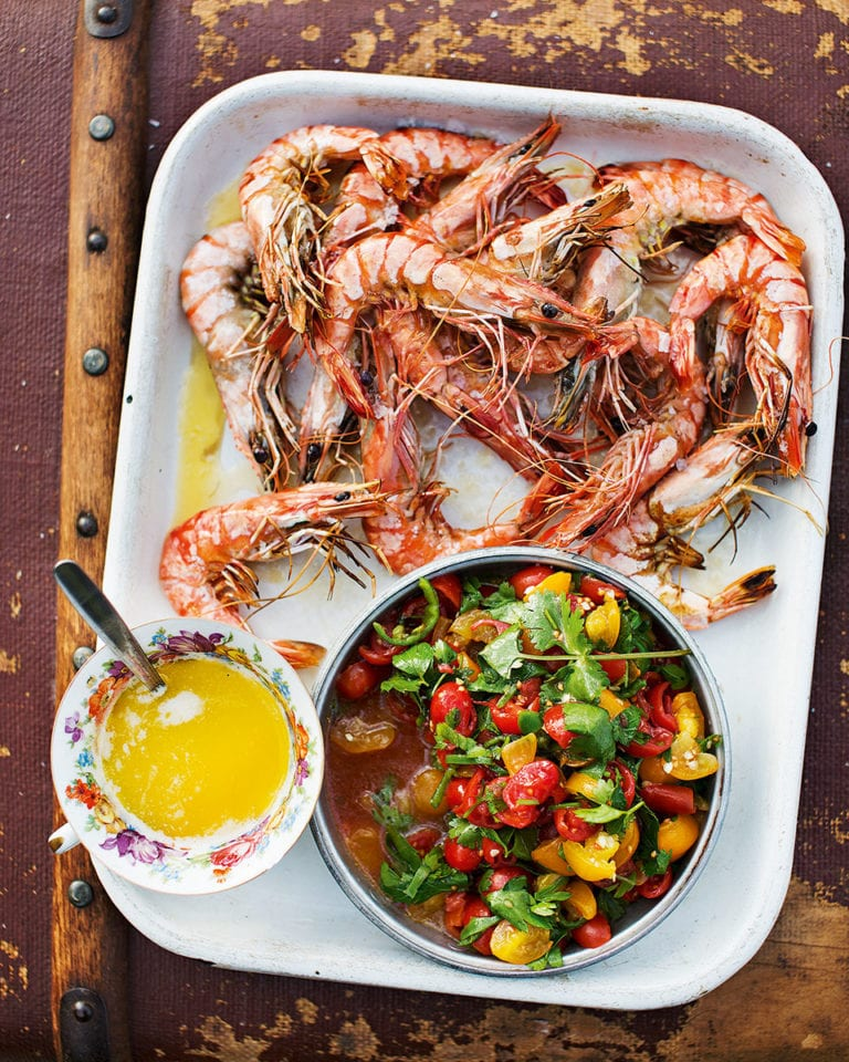 Griddled prawns with garlic butter and salsa