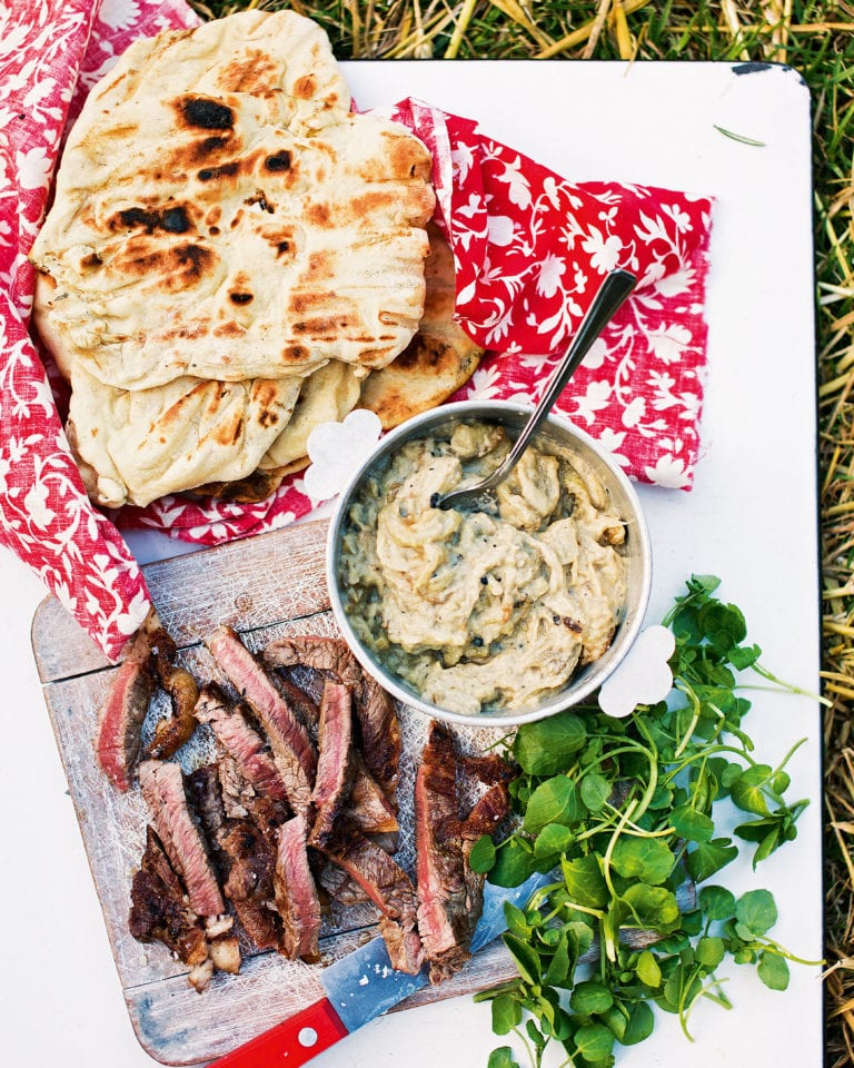 Flatbreads with steak and baba ghanoush