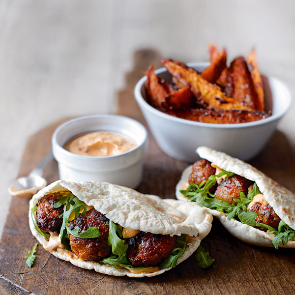 Spicy pork meatball pittas with harissa mayo and sweet potatoes - delicious. magazine