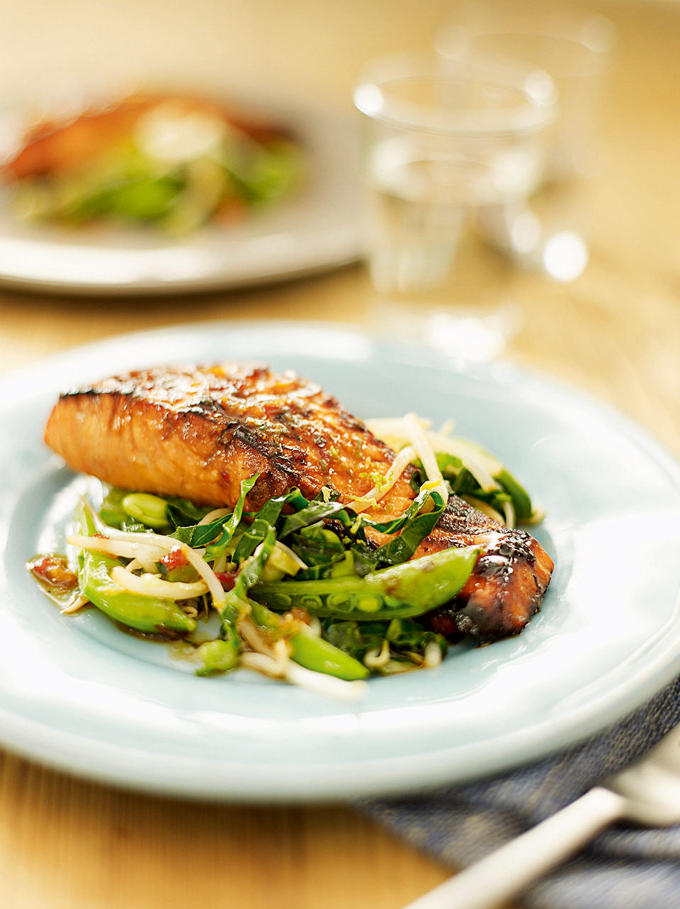Teriyaki salmon with stir fry vegetables delicious magazine forumfinder Image collections