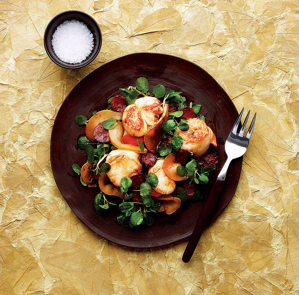 Warm salad of pear scallop and chorizo delicious magazine forumfinder Image collections
