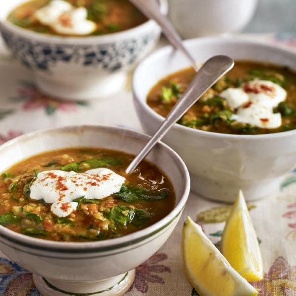 Middle Eastern-spiced spinach and lentil soup with garlic yogurt - delicious. magazine