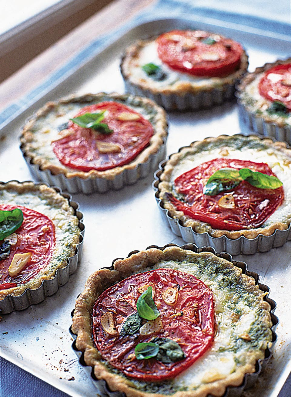 Tomato Mozzarella And Basil Tarts Delicious Magazine Cheezy Mozarella