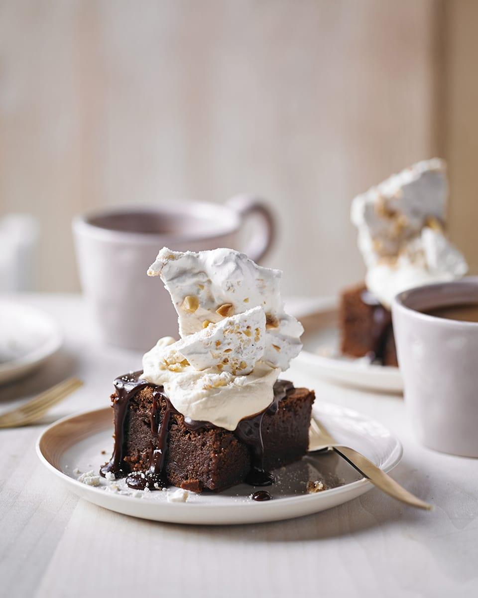 Baileys cream brownies with hazelnut meringue | delicious. magazine