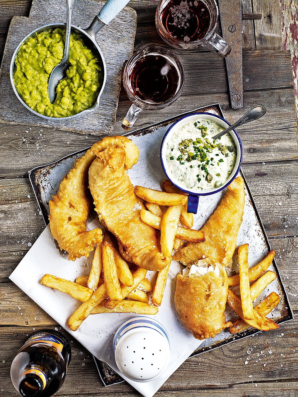 Beer battered fish and triple cooked chips delicious for Beer battered fish and chips