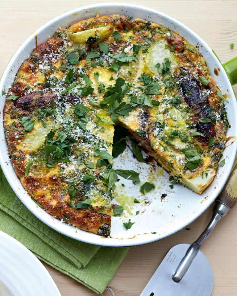 Sausage frittata with new potatoes and wholegrain mustard