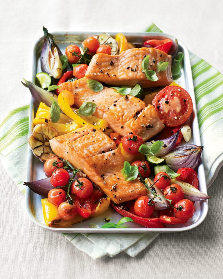 Salmon tray bake