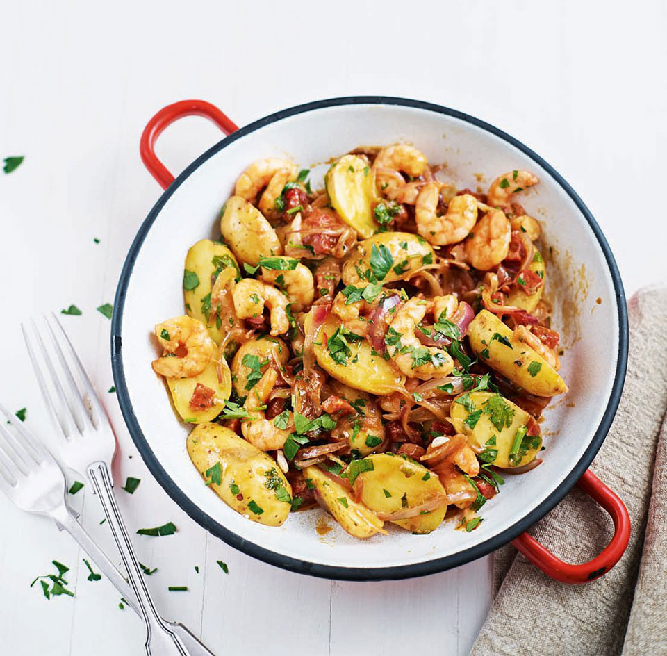 New potatoes, king prawns and chorizo with tomato and chilli - delicious. magazine