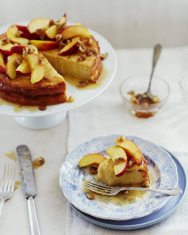 Ricotta torte with nectarines, honey and walnut drizzle