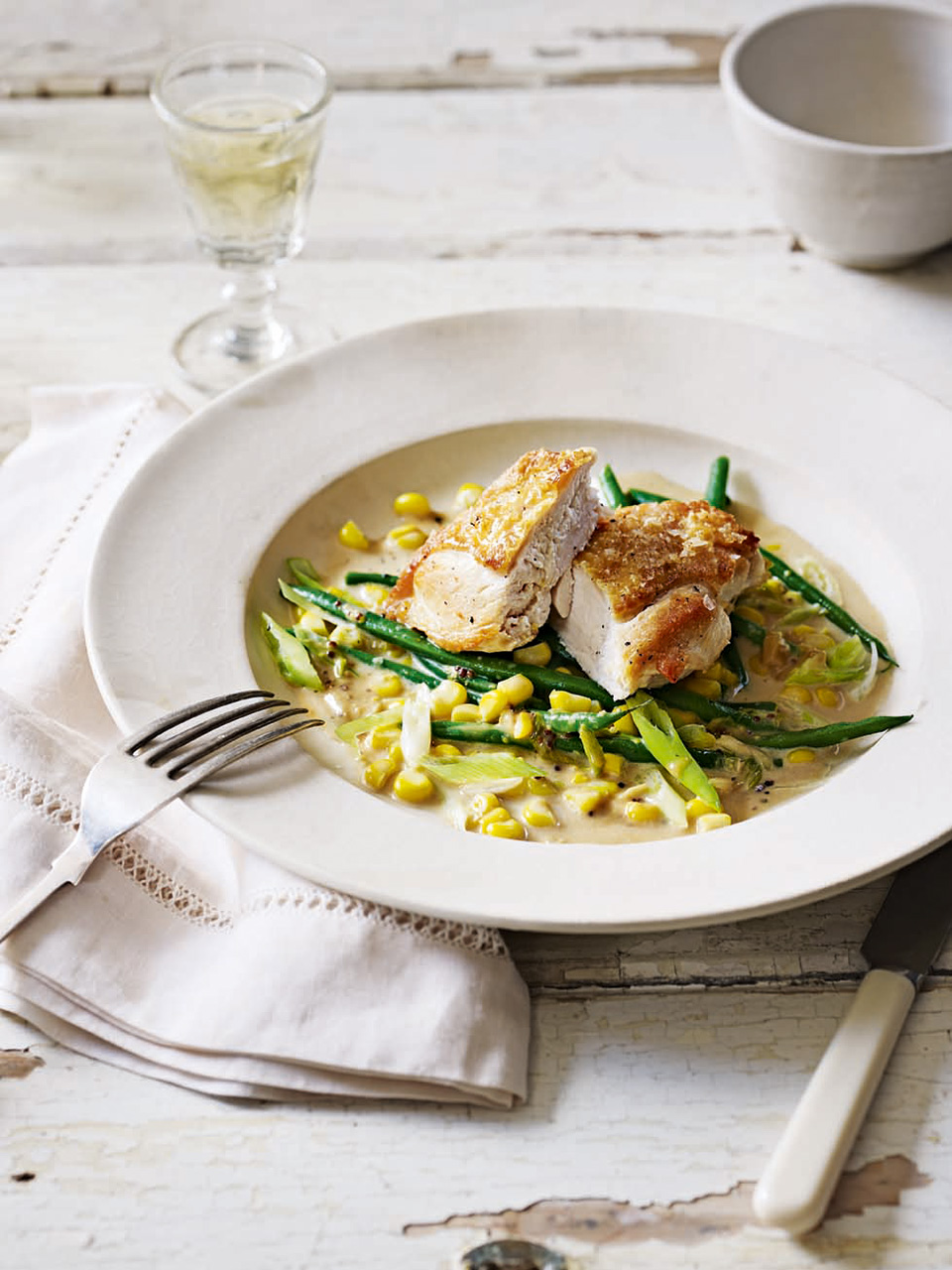 Roast Chicken Breasts with Sweetcorn Risotto and Caramelised Shallots Recipe pics