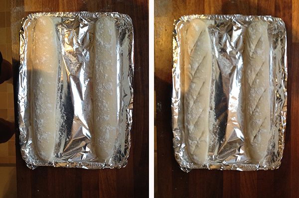 Proved and slashed baguettes