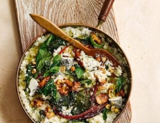 Wild mushroom, chard and goat's cheese risotto