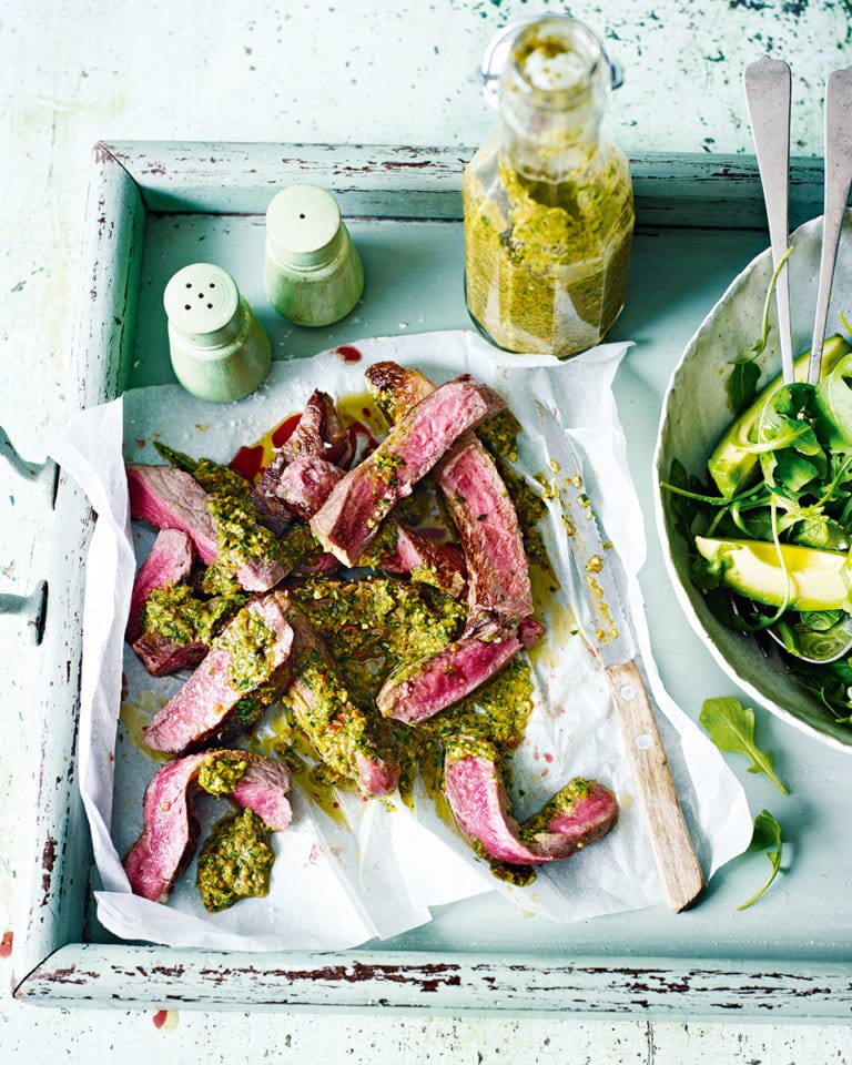 Charred spicy pepper pesto with steak and green salad