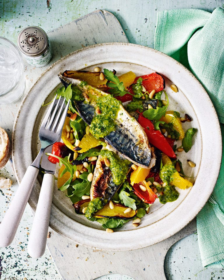 Grilled mackerel with orange and basil-dressed pepper salad