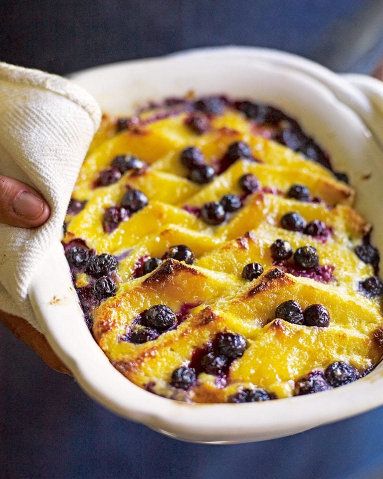 Blueberry, lemon curd and brioche bread-and-butter pudding