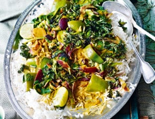 Pepper, spinach and coconut curry